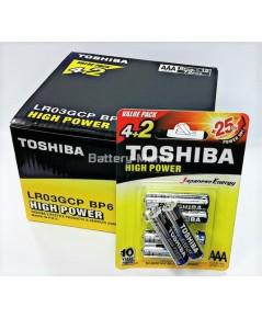 ถ่านอัลคาไลน์ AAA แพ็ค 6 ก้อน Toshiba Alkaline High Power LR03GCP BP6 1 กล่อง
