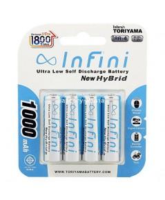 ถ่านชาร์จ Infini New Hybrid 1000Mah แพ็ค 4 Recharge Up to 1800 ครั้ง AA