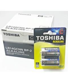 ถ่านอัลคาไลน์ C แพ็ค 2 ก้อน Toshiba Alkaline Blueline LR14BP2 1 กล่อง