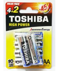 ถ่านอัลคาไลน์ AA แพ็ค 6 ก้อน Toshiba Alkaline High Power LR6GCPBP62F 1 แพค