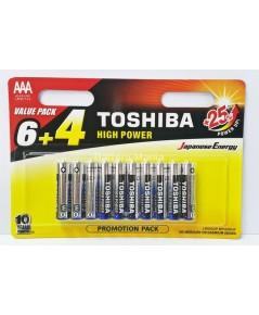 ถ่านอัลคาไลน์ AAA แพ็ค 10 ก้อน Toshiba Alkaline High Power LR03GCP BP10