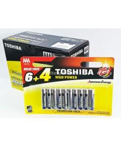 ถ่านอัลคาไลน์ AAA แพ็ค 10 ก้อน Toshiba Alkaline High Power LR03GCP BP10 1 กล่อง