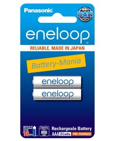 Panasonic Eneloop AAA pack 2 ก้อน 800 mAh ชาร์จ 2100 ครั้ง made in japan