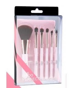 Odbo perfect brush beauty tool กระเป๋าหนังพร้อมแปรงแต่งหน้า 6 ชิ้นมีให้เลือก 2 สี