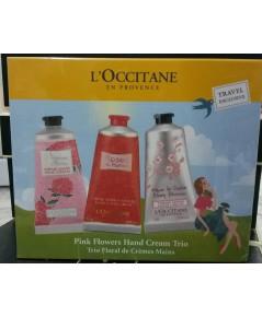 L\'occitane Floral Hand Cream Trio Cherry Blossom Roses Et Reines 3pcs กล่องบรรจุ 75ml. แพค 3 ชิ้น