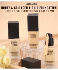 sivanna colors honeycollegen liquid foundation hf4012 รองพื้นเนื้อครีม หัวปั๊มขวดแก้วขุ่น