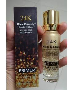 Kiss Beauty 24K golden edition with pure gold Primer 50 ml. ไพร์เมอร์ไม่มีสีเนื้อใสรุ่นผสมทองคำ 24k
