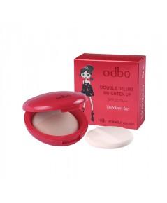 odbo double deluxe brighter up spf20pa++ แป้งเค้กอัดแข็งผสมผงไข่มุข
