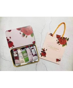 L\'occitane - Holiday Hand Cream 5-Piece Set collection  กล่องเหล็กลายดอกกุหลาบ  พร้อมถุงห้าง