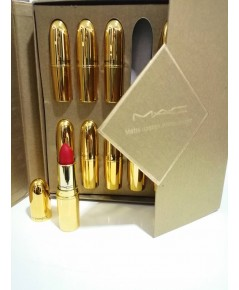 Mac matte lipstick infinite charm 12psc.ลิปปอกแท่งทองเงาคละสีในแพคกล่องของขวัญสีทองสวยหรู
