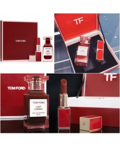 ชุดน้ำหอม+ลิปสีแดงก่ำ TomFord (limited edition) Lost Cherry perfume 50ml + lipstick gift set