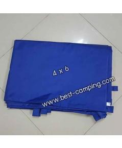 ผ้าฟลายชีทกันน้ำ,ผ้าใบกันน้ำ,ผ้า Fly sheet, ลายพราง 4 x 6 สีน้ำเงิน