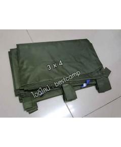 ผ้าฟลายชีทกันน้ำ,ผ้าใบกันน้ำ,ผ้า Fly sheet, ลายพราง 3 x 4 สีเขียว