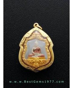 KEA202BRAP เหรียญหลวงพ่อโสธร รุ่นดวงชะตาคู่ชีวิต ทรงอาร์ม ออกวัดโสธรฯ ปี พ.ศ.2547 เลี่ยมทองแท้