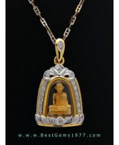 M792-2366เจ้าคุณนรฯ ธรรมวิตโก๙๙ พ.ศ.2538 เนื้อทองคำ บรรจุในกรอบทองฝังเพชร