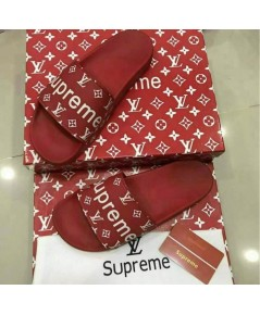 SUPREME NEW MEN/WOMEN LEATHER SANDALS SLIPPERS SHOES