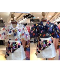 งานสวยแบรนด์ไฮเอ็น เสื้อผ้า SILK มีลายในตัว ปริ้นลายดอกสีสันสดใส ดีไซน์แขนตุ๊กตาพองน่ารักมาก