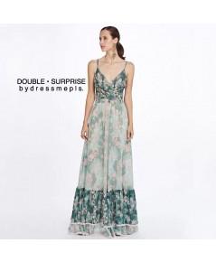 Maxi Dress สายเดี่ยว ช่วงอกไขว้ ผ้าพิมพ์ลายสวย โทนสีเขียวสลับเข้มอ่อน ต้อนรับซัมเมอร์ค่า