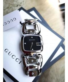 ของแท้ Gucci 125 Stainless Steel Diamond Black Dial Women\'s