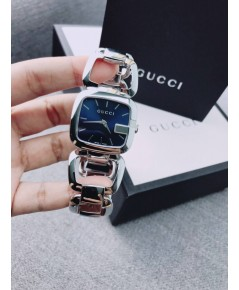 ของแท้ Gucci 125 Stainless Steel Diamond Blue Dial Women\'s