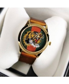 GUCCI WATCH Marche Des Merveilles Green and Red Web Nylon Dial Unisex Watch YA126497 แท้