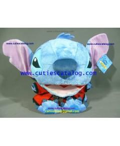 ตุ๊กตาสติช (Stitch Doll) หัวโตขนยาว แบบแฟนซี นั่งยิ้ม แต่งชุดยุโดแดง 4 มือ (ST 2/1)