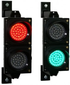 สัญญาณไฟจราจร สีแดงเขียว ขนาด 100 มิลลิเมตร 220V สำหรับติดกับไม้กั้นไม้กระดก