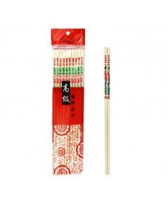 Color kit ตะเกียบพลาสติกงาลายจีนยาว (27 ซม) แพค 10 คู่ 6 แพ็ค
