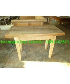 โต๊ะทำงานไม้สักขาตะเกียบ