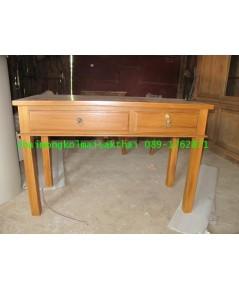 โต๊ะทำงานไม้สักขาตรง