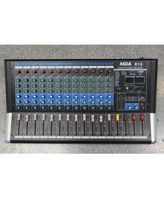 มิกเซอร์MBA E-12 ขนาด12ช่อง 1สเตอริโอ 2AUX 2group มาพร้อม SPX effect ร้องแท้ และ mp3 Player