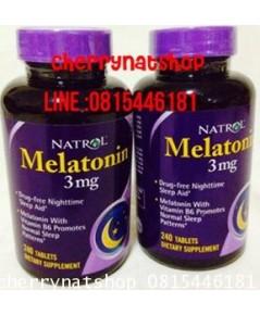 วิตามินช่วยให้นอนหลับง่าย แก้ปัญหาโรคนอนไม่หลับNatrol Melatonin 3 mg จำนวน240Tablets ผสมB6+แคลเซียม