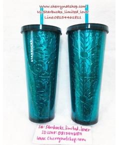 Starbucks USA Cold cup Aqua Embossed 24oz ใบนี้สวยมากๆเป็นลวดลายแกะสลักดอกไม้ สวยอลังการ งานละเอียด