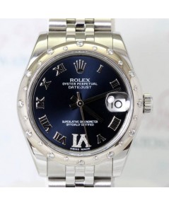 Rolex DateJust 178344 หน้าปัดสีน้ำเงินเลขโรมัน VI ฝังเพชร ตัวเรือน Steel