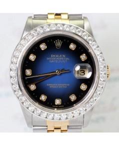 Rolex DateJust 16233 หน้าปัดน้ำเงินทูโทนเพชรใหญ่ 2 กษัตริย์+ขอบเพชร