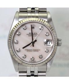 Rolex DateJust Boy Size 78274 หน้าปัดมุกขาวฝังเพชรเรือน Steel