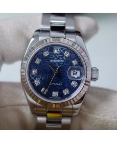 นาฬิกา rolex datejust lady size สำหรับผู้หญิง หน้าปัดคอมน้ำเงินฝังเพชร
