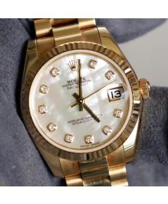 Rolex DateJust boy 31mm หน้าปัดมุกขาวฝังเพชรตัวเรือนทองทั้งเรือน