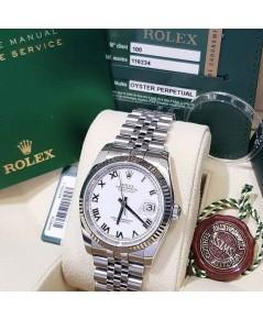 ROLEX 116234 Date Just Size 36mm King หน้าขาว เลขโรมัน ขอบทองคำขาว สายจูบีรี่ เรือน Steel มี ใบกล่อง