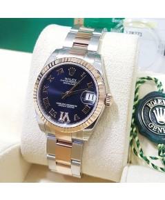 Rolex Boy Size 178241 Date Just หน้าปัดน้ำเงินเข้มฝังเพชรVI ขอบPink Gold