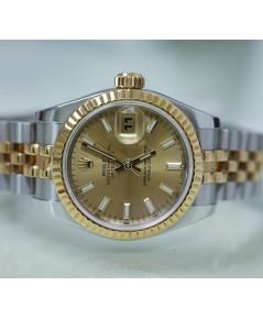 Rolex DateJust 179173หน้าปัดสีทองเลขขีด