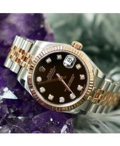 นาฬิกามือสอง Rolex Boy Size 178271 Date Just หน้าดำฝังเพชร 10 ลูก ขอบหยักPink Gold