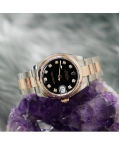 นาฬิกามือสอง Rolex Boy Size 178241 Date Just หน้าดำฝังเพชร 10 ลูก ขอบเรียบPink Gold