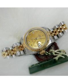 Rolex DateJust179173 lady 26mm หน้าปัดมุกฝังเพชร2ลูก ตัวเรือนสองกษัตริย์