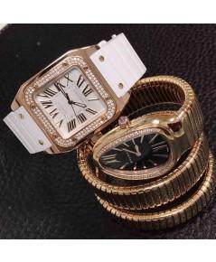 Cartier Diamond Santos 100 and Bulgari Rose Gold