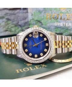 นาฬิกามือสอง rolex datejust 36มิล 16233 หน้าน้ำเงินทูโทนเพชร
