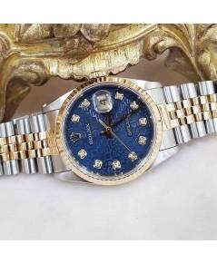 นาฬิกามือสอง rolex datejust 36มิล 16233 หน้าคอมน้ำเงินเพชร