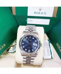 นาฬิกามือสอง rolex datejust 36มิล 116234 หน้าคอมน้ำเงินเพชร