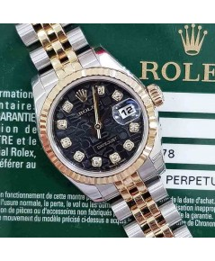 Rolex DateJust 179173 Lady Sizeหน้าคอมดำเพชร