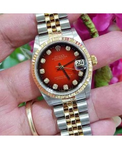 Rolex DateJust 78273 Boy Size 31mm หน้าแดงทูโทนเพชร